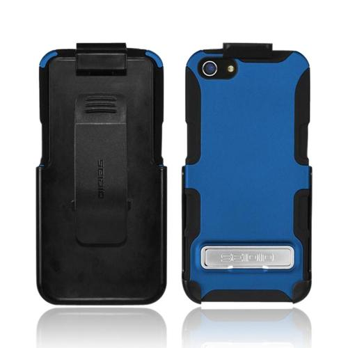 Apple iPhone SE / 5 / 5S  Case, Seido [Royal Blue/ Black]  Rubberized Hard Cover Over Silicone w/ Kickstand & Holster Case