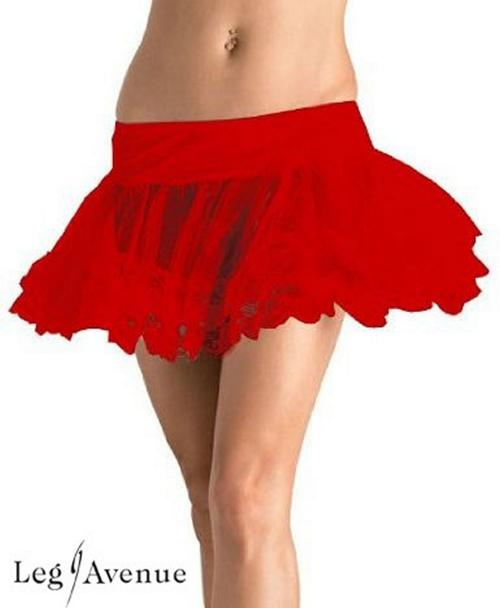 LegAvenue Halloween Costume Petticoat w, Lace Trim - Available in Black, White, Red, Pink 8999