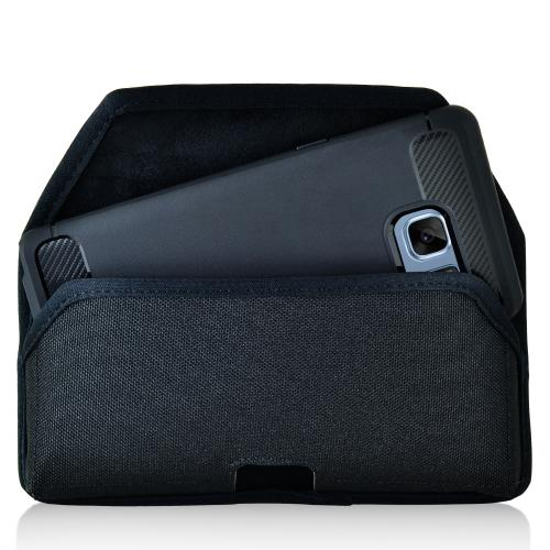 Samsung Galaxy Note 7 Pouch, [Black] Horizontal Holster, Black Nylon Pouch w/ Heavy Duty Rotating Belt Clip, Fits with Slim Case