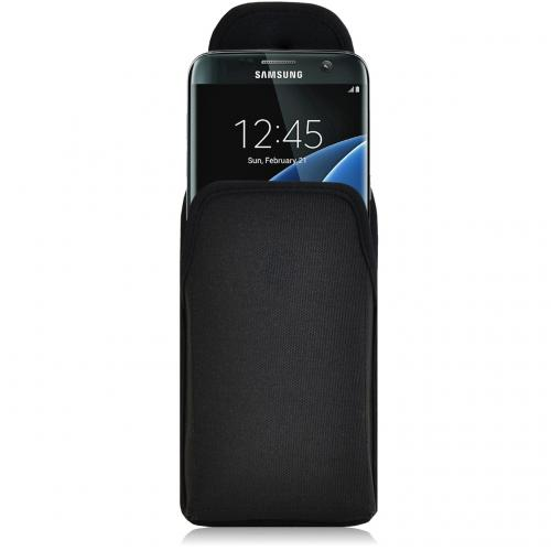 Samsung Galaxy S7 Edge Pouch, Turtleback [Black] Vertical Nylon Holster Pouch Case w/ Rotating Metal Belt Clip - Made in the USA!