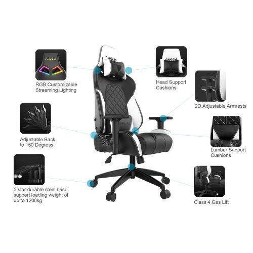 [Gamdias] Achilles E1-L Multifunction PC Gaming Chair w/ RGB Customizable Streaming Lighting [Black]