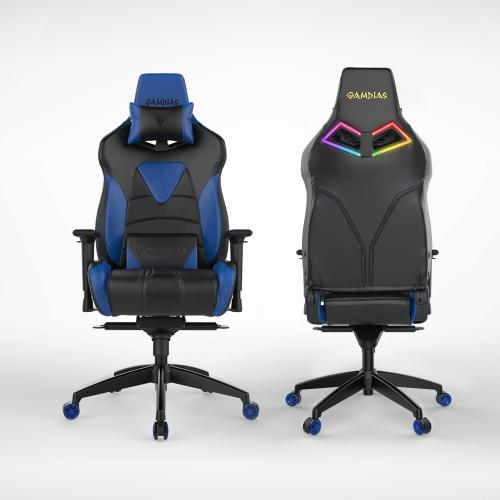 [Gamdias] Achilles M1-L Multifunction PC Gaming Chair w/ RGB Customizable Streaming Lighting [Black/ Blue]