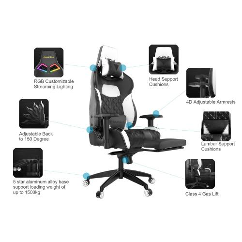 [Gamdias] Achilles P1-L Multifunction PC Gaming Chair w/ RGB Customizable Streaming Lighting & Adjustable Footrest [Black/ White]