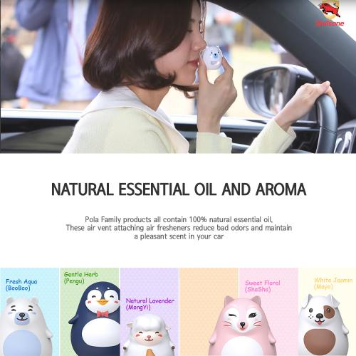 Car Air Freshener, [Floral] Bullsone Pola Family Refillable Vent Clip ShaSha + 1 Extra Refill - 100% Natural Essential Oil Scents!