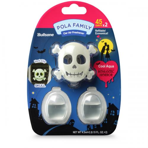 Car Air Freshener, [Cool Aqua] Bullsone Pola Family Refillable Vent Clip Skull + 1 Extra Refill - 100% Natural Essential Oil Scents!