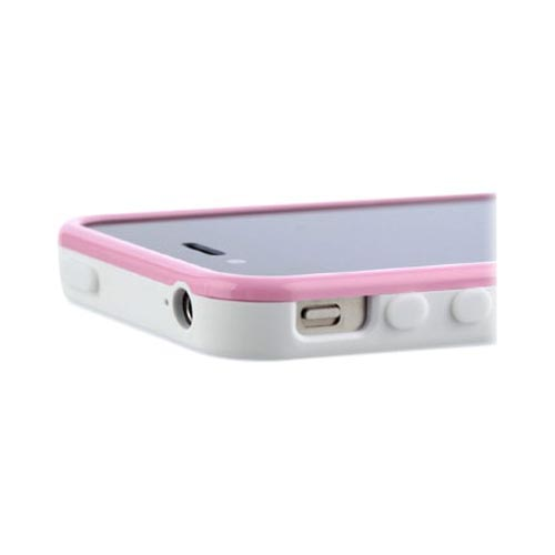Original Zenus AT&T/ Verizon Apple iPhone 4, iPhone 4S Air Bumper Mask Hard Case w/ Screen Protector, APIP4-BB2BA-WHPI - Baby Pink/ White