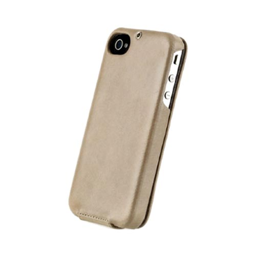 Original Zenus AT&T/ Verizon Apple iPhone 4, iPhone 4S E'stime Leather Folder Series Case, APIP4-ELLFD-LK - Light Khaki