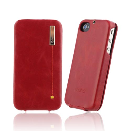 Original Zenus AT&T/ Verizon Apple iPhone 4, iPhone 4S Masstige Leather Folder Color Point Series Case, APIP4-MP5FD-FR - Fierce Red/ Yellow