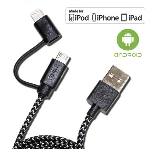 [TeraGrand] Apple MFi Certified 2-In-1 USB Charge & Sync Braided Cable w/ Lightning & Micro-USB Connectors [Black/ White] (3.2 feet/ 1M)