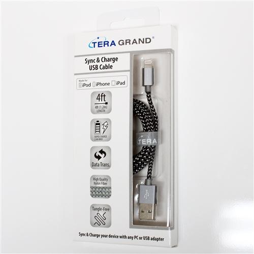 TERA GRAND Apple MFi Certified Lightning Compatible Cable to USB Braided Cable [Black/ White] w/ Aluminum Housing (4 feet/ 1.2 m)