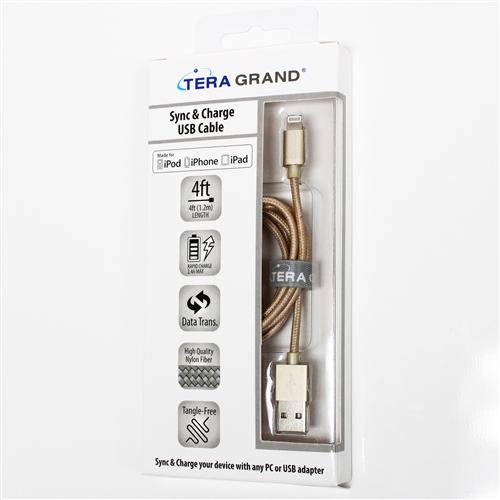TERA GRAND Apple MFi Certified Lightning Compatible Cable to USB Braided Cable [Gold] w/ Aluminum Housing (4 feet/ 1.2 m)