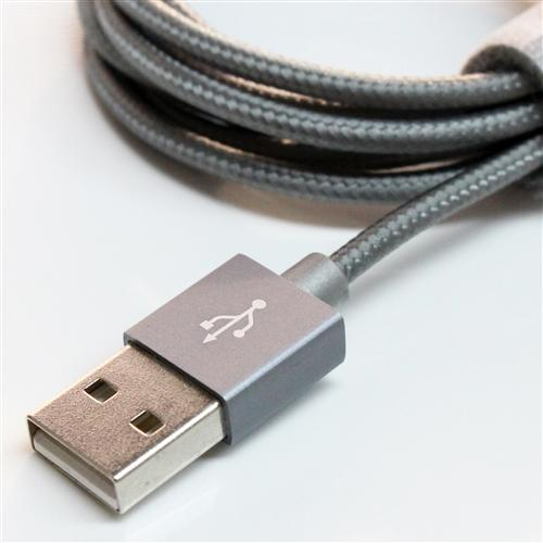 TERA GRAND Apple MFi Certified Lightning Compatible Cable to USB Braided Cable [Gray] w/ Aluminum Housing (4 feet/ 1.2 m)