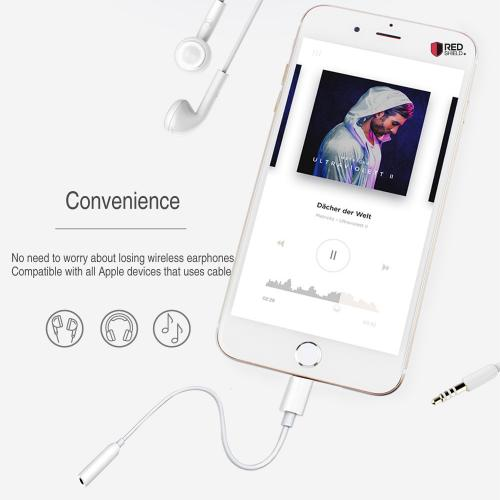 3.5mm Aux Audio Female to Lighting Male Headphone Adapter [White]