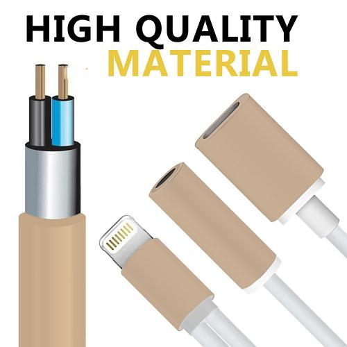 2 in 1 Audio/ Charging Port, Lightning to 3.5mm Jack/ Audio Aux Port Headphone [No Music Control and Calling Function] Cable Adapter [Gold]