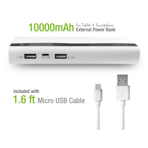 10000mAh 2-Port [2.1A & 1.0A] USB Portable External Power Bank Charger for Tablets & Smartphones [White]