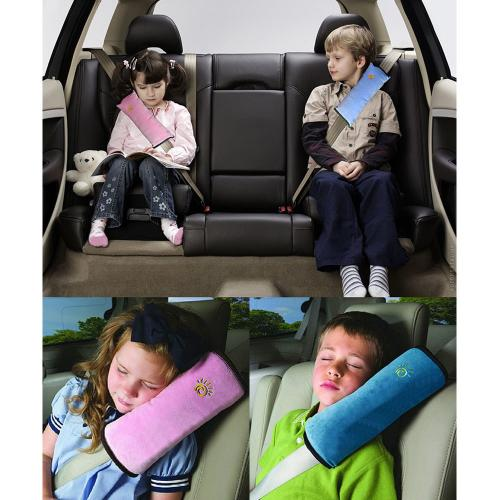 Baby Car Pillow, [Pink] Adjustable Seatbelt Shoulder/ Neck Pad Pillow For Kids & Adults