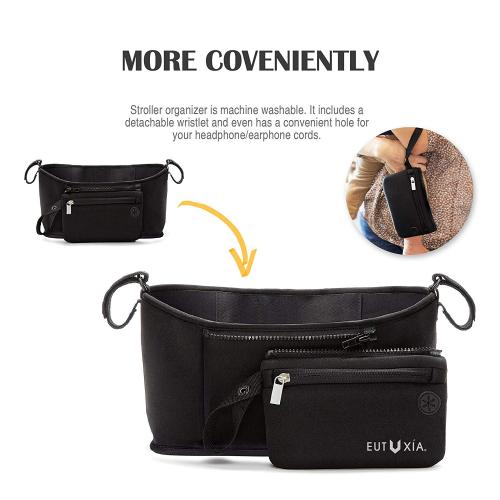 Eutuxia Stroller Organizer Bag with Multi Pockets & Detachable Wristlet. Universal Fit with Velcro. Insulated Cup Holders & Storage Space for Phones, Wallets, Books, Toys, Diapers, Drinks, Food, Etc.