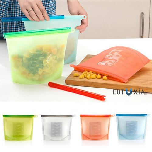 Eutuxia Silicone Food Storage Bags. Leakproof, Reusable & Heavy Duty Preservation Container for Storing Solids, Liquids & Powders with Airtight Seal. Food Grade, BPA Free, SGS & FDA Approved. [4 PK]