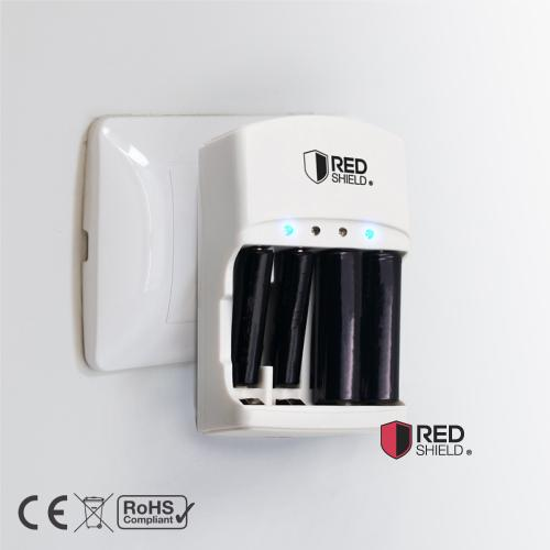 RED SHIELD Battery Charger with LED Status Lights for 9V, AA, AAA, Ni-MH, Ni-CD, and Li-Ion Rechargeable Batteries. Intelligent Power Technology, Short Circuit Protection, and Worldwide Compatible.