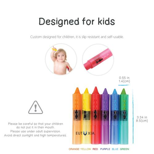 Eutuxia Baby Bath Toys. Bathtub Colorful Crayons for Kids & Toddlers. Draw and Scribble on the Tub. Bath Time Fun Entertainment for Children. Washable & Retractable. Safe, Non-Toxic, and BPA Free.