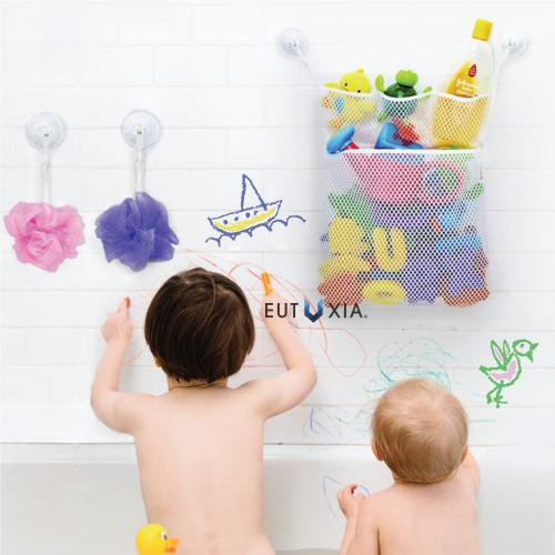 "Eutuxia Bath Toy Organizer. Quick Dry Mesh Net Bag Bathtub Storage with 4 Pockets for Kids Toys and Bathroom Essentials. Includes 4 Lock Tight Suction Hooks. Mold Resistant & BPA Free. [19.76"" x 14""]"