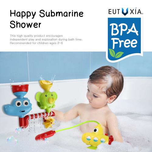 Eutuxia Baby Bath Toy. Submarine, Dinosaur & Elephant Water Spray Station with Suction Cups. Battery Operated Water Pump for Hand Shower. Fun Bathtime Entertainment for Toddlers, Babies, and Children.