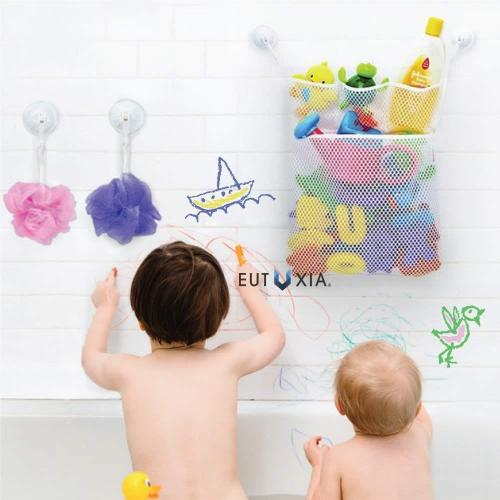 Eutuxia Bath Toy Organizer, Alphabet Puzzle Bundle. Quick Dry Mesh Net Bag with 4 Pockets for Kids Toys and Bathroom Essentials. Mini Letters & Number Pieces Floats in Water, Sticks on Tile Walls.