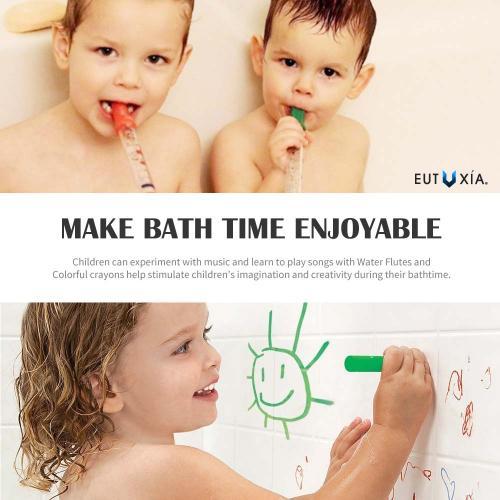 Eutuxia Baby Bundle, 5 Water Flutes with Waterproof Music Sheets & Holder + 6 Bath Crayons. Colorful Bathtub Toys Babies, Kids, Toddlers & Children. Children Bath Time Entertainment.