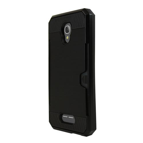Alcatel Fierce 4 Case, Super Slim Brushed Metallic Hybrid Hard Cover on TPU w/ Card Slots [Black] with Travel Wallet Phone Stand