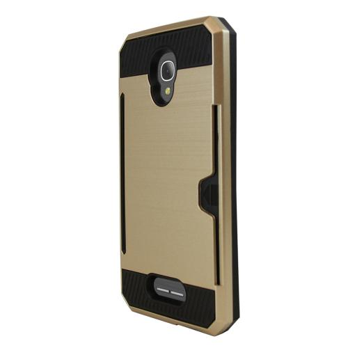 Alcatel Fierce 4 Case, Super Slim Brushed Metallic Hybrid Hard Cover on TPU w/ Card Slots [Gold] with Travel Wallet Phone Stand