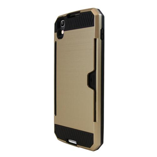 Alcatel Idol 4 Case, Super Slim Brushed Metallic Hybrid Hard Cover on TPU w/ Card Slots [Gold] with Travel Wallet Phone Stand
