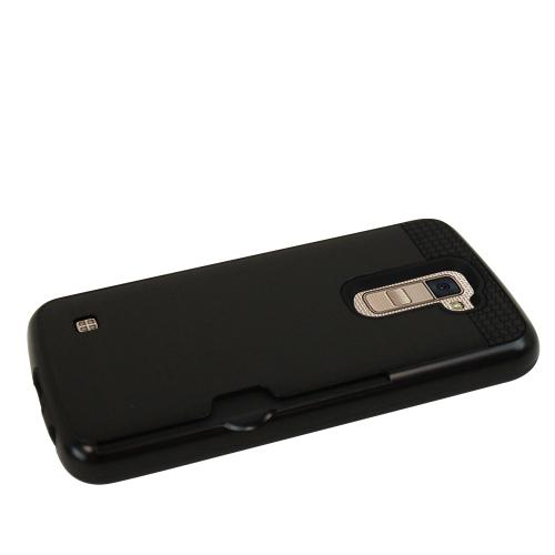 LG K10 Case, Super Slim Brushed Metallic Hybrid Hard Cover on TPU w/ Card Slots [Black]