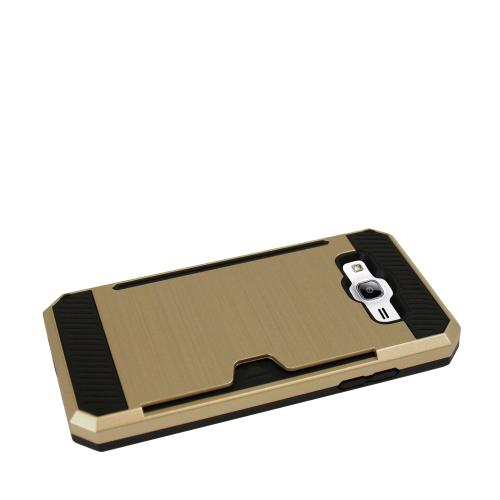 Made for [Samsung Galaxy On5] Super Slim Brushed Metallic Hybrid Hard Cover on TPU w/ Card Slots [Gold]