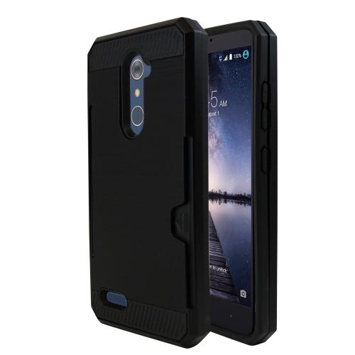 Made for [ZTE ZMax Pro] Super Slim Brushed Metallic Hybrid Hard Cover on TPU w/ Card Slots [Black]