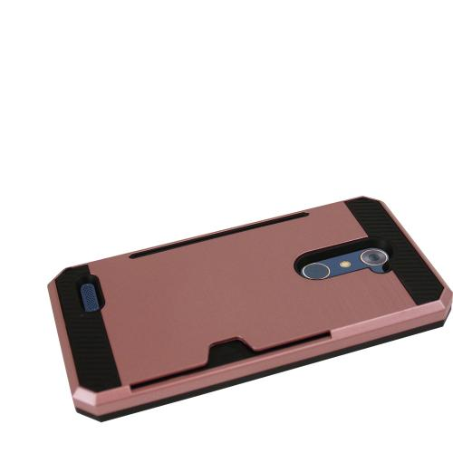 Made for [ZTE Zmax Pro] Super Slim Brushed Metallic Hybrid Hard Cover on TPU w/ Card Slots [Rose Gold/ Black]