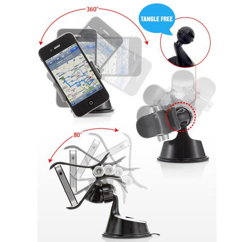 Smartphone Suction Car Mount Holder Bundle [Black & White]