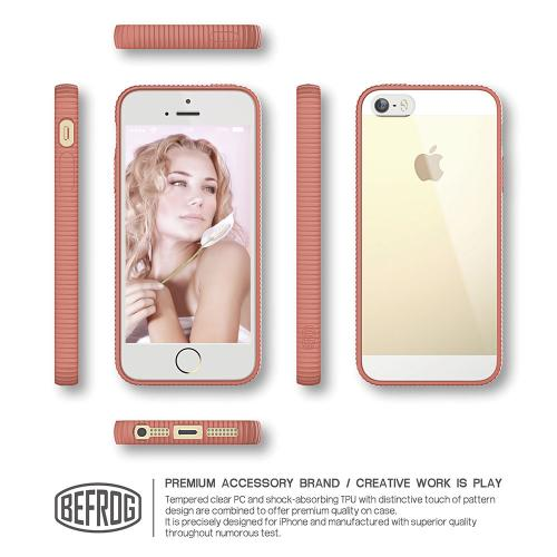 Apple iPhone SE/5/5S Case, BEFROG [Melon] Crystal Hard Back Slim Flexible Grip Clear Back Panel + TPU Bumper Cover Case