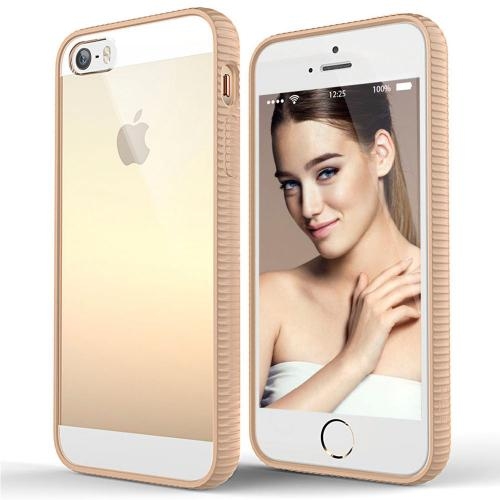 Made for Apple iPhone SE/5/5S Case, BEFROG [Tan] Crystal Hard Back Slim Flexible Grip Clear Back Panel + TPU Bumper Cover Case by Befrog
