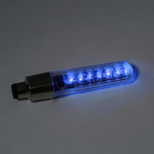 Waterproof Bike Tire Valve 7 LED Light - [Blue] LED & Multiple Design Patterns and Sayings! Stand Out at Night!