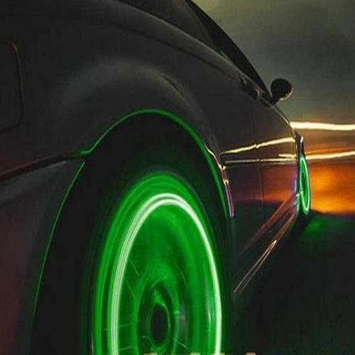 Waterproof Bike Tire Valve LED Light [Green] w/ Batteries - Be Seen at Night!