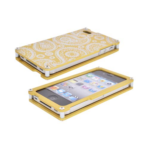Exclusive BNA Nature AT&T/Verizon Apple iPhone 4 Aluminum Hard Case & Screen Protector, Exclusively from AccessoryGeeks! BNA-004-PA - Gold (Paisley)
