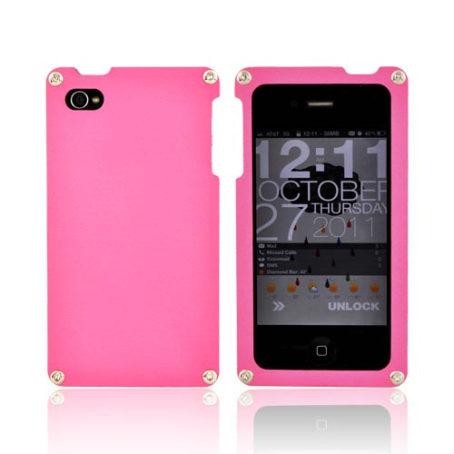 Original BNA Nature AT&T/Verizon Apple iPhone 4, iPhone 4S Aluminum Hard Case & Screen Protector, Exclusively from AccessoryGeeks! BNA-5 - Baby Pink