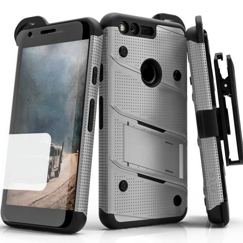 Made for [Google Pixel]-Bolt Series: Heavy Duty Cover w/ Kickstand Holster Tempered Glass Screen Protector & Lanyard [Gray/ Black]