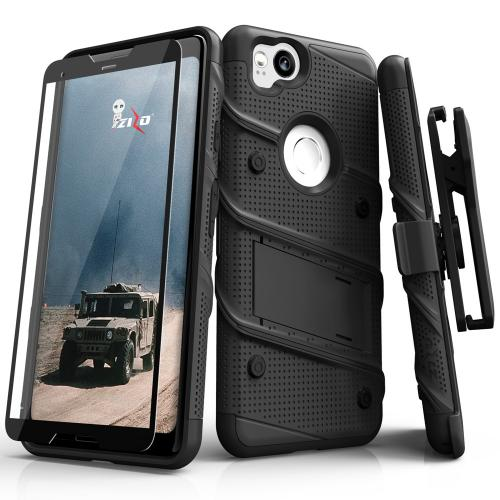 Made for [Google Pixel 2]-Bolt Series: Heavy Duty Cover w/ Kickstand Holster Tempered Glass Screen Protector & Lanyard [Black]