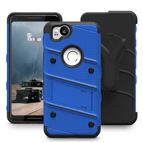 Made for [Google Pixel 2]-Bolt Series: Heavy Duty Cover w/ Kickstand Holster Tempered Glass Screen Protector & Lanyard [Blue/ Black]