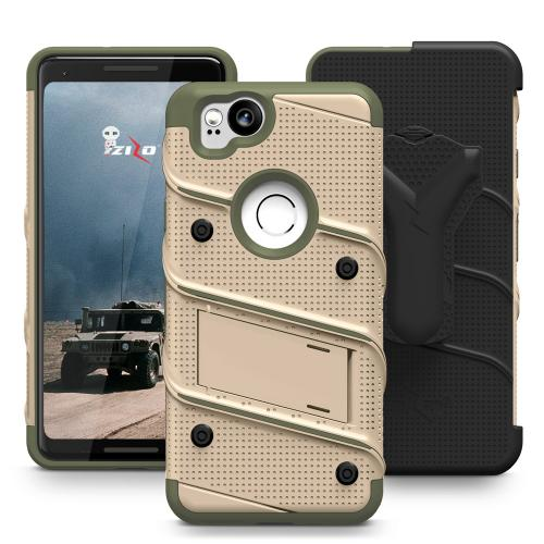 Made for [Google Pixel 2]-Bolt Series: Heavy Duty Cover w/ Kickstand Holster Tempered Glass Screen Protector & Lanyard [Desert Tan/ Camo Green]