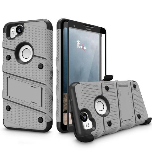 Made for [Google Pixel 2]-Bolt Series: Heavy Duty Cover w/ Kickstand Holster Tempered Glass Screen Protector & Lanyard [Gray/ Black]