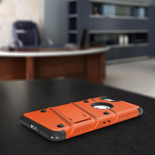 Made for [Google Pixel 2]-Bolt Series: Heavy Duty Cover w/ Kickstand Holster Tempered Glass Screen Protector & Lanyard [Orange/ Black]