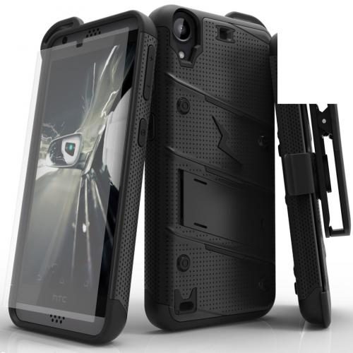 Made for [HTC Desire 530]-Bolt Series: Heavy Duty Cover w/ Kickstand Holster Tempered Glass Screen Protector & Lanyard [Black]