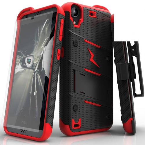 Made for [HTC Desire 530]-Bolt Series: Heavy Duty Cover w/ Kickstand Holster Tempered Glass Screen Protector & Lanyard [Black/ Red]